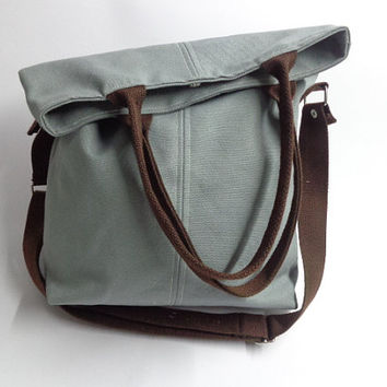 Gray  tote bag and Messenger bag/handbag/hobo/purse/gift for her/gray canvas/diaper bag/gray bag/You can select color