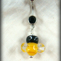 Belly Button Ring - Bumble Bee Belly Ring - Belly Button Jewelry - Dangle Belly Ring - Black and Yellow Belly Button Ring