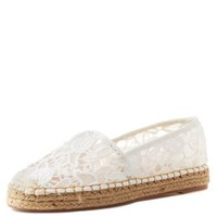 White Slip-On Lace Espadrille Flats by Charlotte Russe