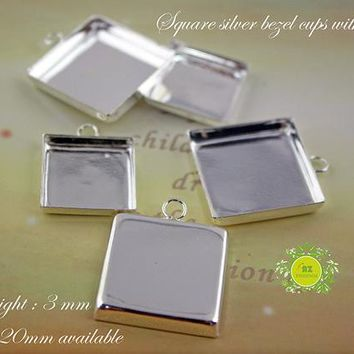 Bezel Cups-Silver Earring Trays-Charm drops for Bracelets-Square Earring Bezel Blank-High wall pendant trays 16mm,18mm,20mm available 0189