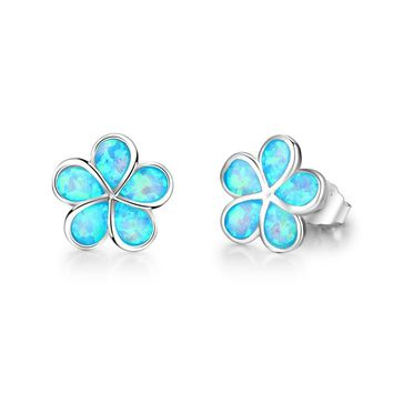 STYLEDOME Sweet Flower Created Opal 925 Sterling Silver Stud Earrings