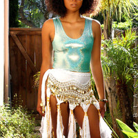 White Fringe Gypsy Coin Skirt