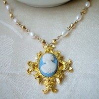 Ornate Light Blue and Gold Cameo Necklace with Freshwater Pearls 17""
