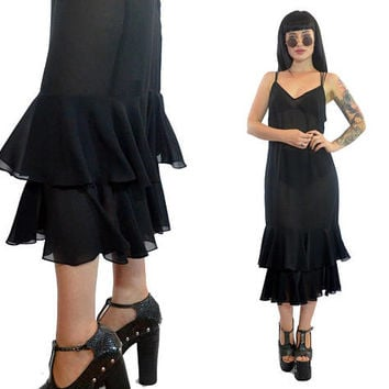 vintage 70s black gauzy ruffled midi dress minimalist paper thin slip dress grunge gothic witchy medium