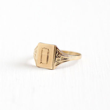 Vintage Art Deco 10k Yellow Gold Letter D Signet Ring - 1920s 1930s Size 3 Initial Monogrammed Personalized Midi Children's Fine Jewelry