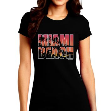 Miami Beach - Sunset Palm Trees Juniors Crew Dark T-Shirt by TooLoud