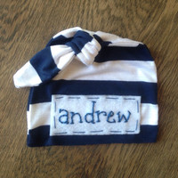 Baby name knot hat- blue and white stripe jersey w/ personalized name- photo prop- newborn- baby boy-