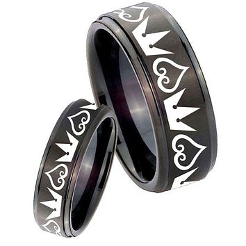 His Hers Step Edge Hearts and Crowns Black Tungsten Carbide Wedding Rings Set