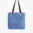 Periwinkle Blue Pink & Gray Chevron Abstract Pattern Tote Bag by Christina Katson- Colorful modern beach bag school bag- Cute bags