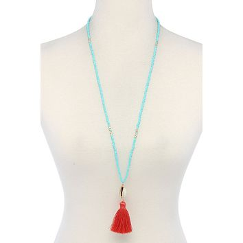 Cowrie Shell Tassel Beaded Necklace, Womens Top Fashion Jewelry