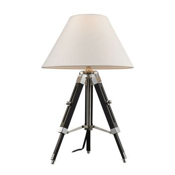 Studio Table Lamp In Chrome And Black With Woven Linen Shade Chrome,Black