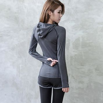 Yoga Shirt Women Hooded Zipper T Shirt Long Sleeves with Gloves Sport Outdoor Fitness Running Gym Jacket Shirts Sportswear