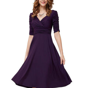 Purple Ruched Sleeve V-Neck High Waisted Dress