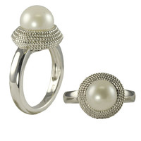 Button Freshwater Pearl Ring, in Sterling Silver - Size 7