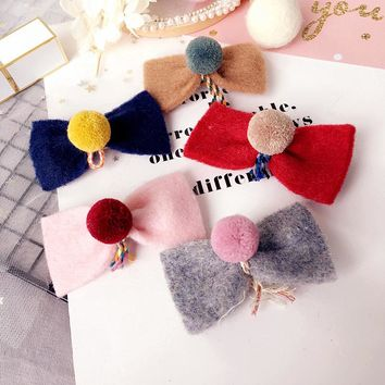 Boutique 20pcs Winter Fashion Cute Felt Bow Girls Hairpins Kawaii Solid Pom Pom Ball Bowknot Hair Clips Headware Accessories