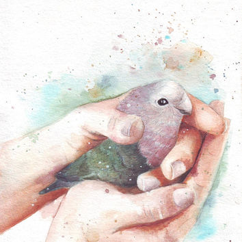 HM086 Original art watercolor painting Holding Hands with Love Bird by Helga McLeod