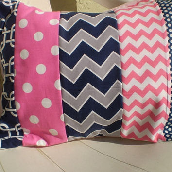 Hot Pink,navy and grey pillow cover,Nautical girl pillow,Throw pillow cover,Nursery pillow cover,girl room nautical,chevron,12 by 16inches