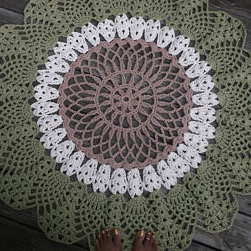 "Green, Off White, Brown Cotton Crochet Rug in Large 42"" Circle Pineapple Lacy Pattern Non Skid"