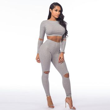 Fashion Rompers Womens Jumpsuit Sexy Bodycon Jumpsuit Two pieces outfits Long Sleeve Hole Sexy Long Pants Suits