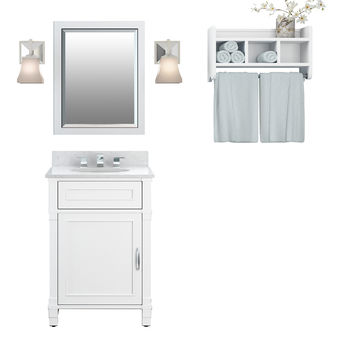 Rosedale White Bath Vanity Set with Shelf/Mirror