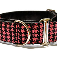Martingale Collar: Classic Houndstooth Pink and Black (1.5 Inch), Dog Collar, Greyhound Collar, Custom Dog Collars, Greyhound Martingale
