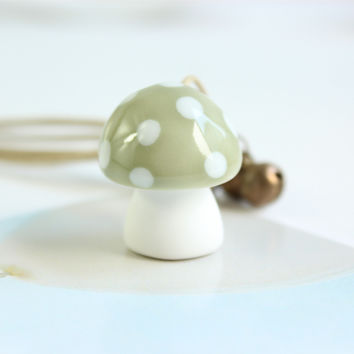 The Original Mud Ceramics Handmade Cute Mushroom Necklace