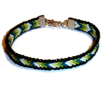 Bordered Chevron with Silver Heart Toggle Clasp Friendship Bracelet