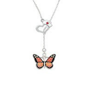 Large Monarch Butterfly with 6 AB Crystals Open Heart Nurse Hat Lariat Necklace
