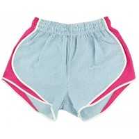 Shorties Shorts in Turquoise Seersucker with Pink Panel by Lauren James