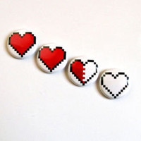 Pixel Heart Button Set Legend of Zelda nintendo valentine's day gamer gift 8 bit
