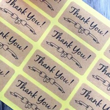 120pcs/lot NEW Students' DIY sticker for handmade products Nice Kraft paper Thank you Bow Adhesive Baking Seal Sticker