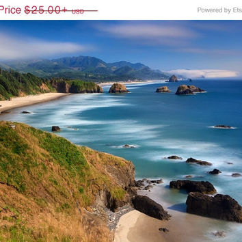 Beach Photography Ecola Cannon Beach Oregon Sea Stacks Ocean Waves Oversized Print Blue Aqua Teal Green Beige Coastal Decor Large Wall Art