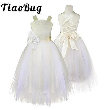 Tiaobug Kids Girls Bridesmaid Lace Dress for Party and Wedding Bridesmaid Girl Dress Ball Gown Prom Formal Maxi Dress 4-14Y