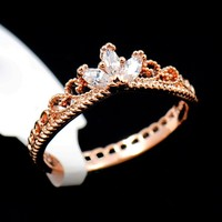 Rose Gold Plated CZ Dainty Princess Crown Ring