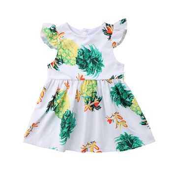 Hot Summer Kids Girl Baby Casual Sleeveless Floral Cotton Princess Dress Clothes 1-5Y