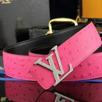 Louis Vuitton Women Men Smooth Buckle Leather Belt Rose Red I-A-GFPDPF