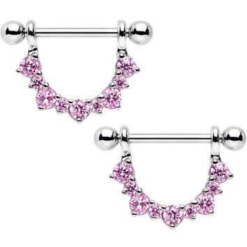 "14 Gauge 5/8"" Rose Cubic Zirconia Semicircle Dangle Nipple Ring Set"
