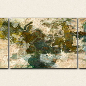 "Oversize Triptych modern art stretched canvas print, 30x60 to 40x78, in earthy greens and browns, ""Out of It"""