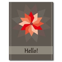 Hello greeting card with a red pink large flower postcard
