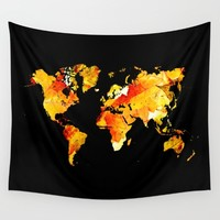 Autumn leaves world map Wall Tapestry by Hedehede