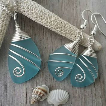Handmade in Hawaii, Wire wrapped turquoise bay  blue sea glass necklace + earrings jewelry set, Sterling silver chain, Beach jewelry gift.
