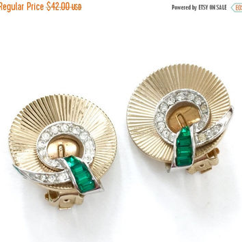Marcel Boucher Art Deco Earrings, Circle Earrings, Emerald Green Baguette and Pave Ice Rhinestone Ribbons, Iconic Boucher Design
