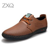 New Fashion Split Leather Men Summer Flat Dress Shoes Breathable Original Brand Men Oxford Shoes