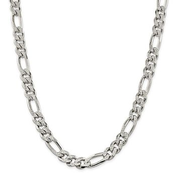 925 Sterling Silver 10.5mm Pave Flat Figaro Chain Necklace, Bracelet or Anklet