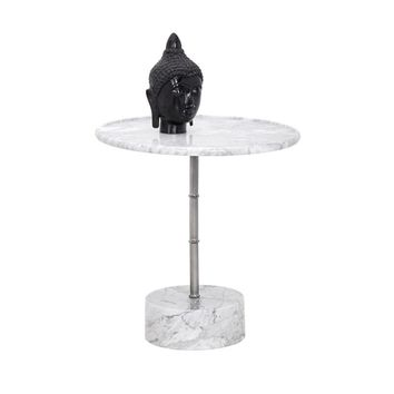 MILAN WHITE MARBLE TOP AND BASE WITH STAINLESS STEEL SIDE TABLE