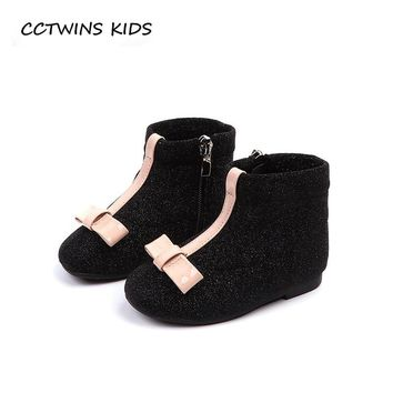 CCTWINS KIDS 2018 Autumn Baby Girl Glitter Soft Shoe Toddler Brand Butterfly Ankle Boot Children Fashion Black Boot CF1505