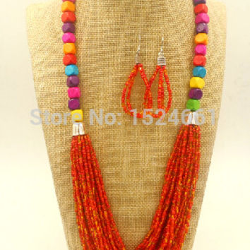 BMX00036  necklace  Wooden bead color mixture  wedding african beads jewelry  *
