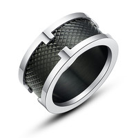 Stainless Steel Black Square Texture Ring