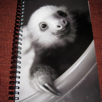 Notebook / Journal two toe sloth in tub. Black and White