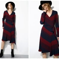 long sleeve dress,asymmetrical,V neck,with belt,geometric pattern,knee length,elegant,chic,fashion.--E0229